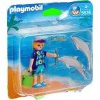 Dimensions : 15 x15 x4 cm Descriptif produit : Avec un personnage et deux dauphins.Les dauphins flottent. Matiere principalePlastique Poids de l'article59 g