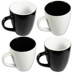 Lot de 4 tasses en porcelaine, noir et blanc Capacité?: 325 ml H : 10cm D : 8cm