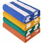 Le paquet de quatre serviettes de plage vives et color?es est compos? de 100% coton ray? de bleu, vert, orange et jaune, capturant ainsi l'essence du style du bord de mer. Fabriqu? ? partir de 2 plis et de 100% de coton doux, les serviettes sont douces et confortables au toucher et con?ues pour un maximum de confort, d'absorption et de durabilit?