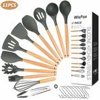 Les spatules en silicone sont constitu?es de deux parties: manche en bois (anti-br?lure) + silicone de qualit? sup?rieure (r?sistant aux hautes temp?ratures) .100% de qualit? alimentaire FDA, non toxique, inoffensif, sain, antiadh?sif, respectueux de l'environnement sans odeur, cuisson plus saine et moins de nettoyage requis.Vous pouvez vous concentrer sur la cuisson.
