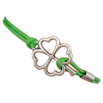 Bracelet vert trefle ? 4 feuilles. bracelet porte bonheur. bracelet chance couleur argent