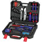Ce kit d?outils comprend plusieurs types d'outils et d'accessoires, convenable ? l'usage domestique g?n?ral ou du travail, id?al pour les travaux d'entretien et de r?paration