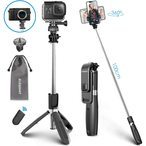 Selfie Stick Bluetooth Tr?pied Bluetooth B?ton de Selfie Monopode R?glable T?lescopique 4 en 1 Extensible 360?