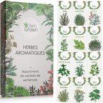 KIT GRAINES AROMATIQUES comprenant 12 fines herbes aromatiques, ?pices et aromates: semis premium ? germer en pot ou dans un bol en int?rieur et en ext?rieur