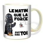 Un super cadeau pour ceux qui connaissent des matins difficiles. Mug le matin que la force soit avec toi, Mug humoristique inspir? de Star Wars, en c?ramique, tol?re le four micro-ondes et le lave-vaisselle, contenance environ 30 cl.