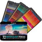 72 CRAYONS AQUARELLABLES ET UN PINCEAU - Notre set de crayons aquarelle poss?de 72 crayons de couleurs professionnels solubles diff?rents et uniques accompagn?s d?un pinceau pour que vous puissiez cr?er des effets et des m?langes incroyables : Donnez encore plus de profondeur ? loisirs cr?atifs adultes