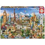 Puzzle de 2000 pi?ces, Symboles d'Europe. Educa fix puzzle inclus pour garder le puzzle une fois assembl?. Taille approximative du puzzle assembl?: 96 x 68 cm.