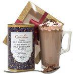 Ce chocolat chaud est livr? avec des guimauves et une tasse en verre de chocolat chaud. Le cadeau parfait pour les amateurs de chocolat.